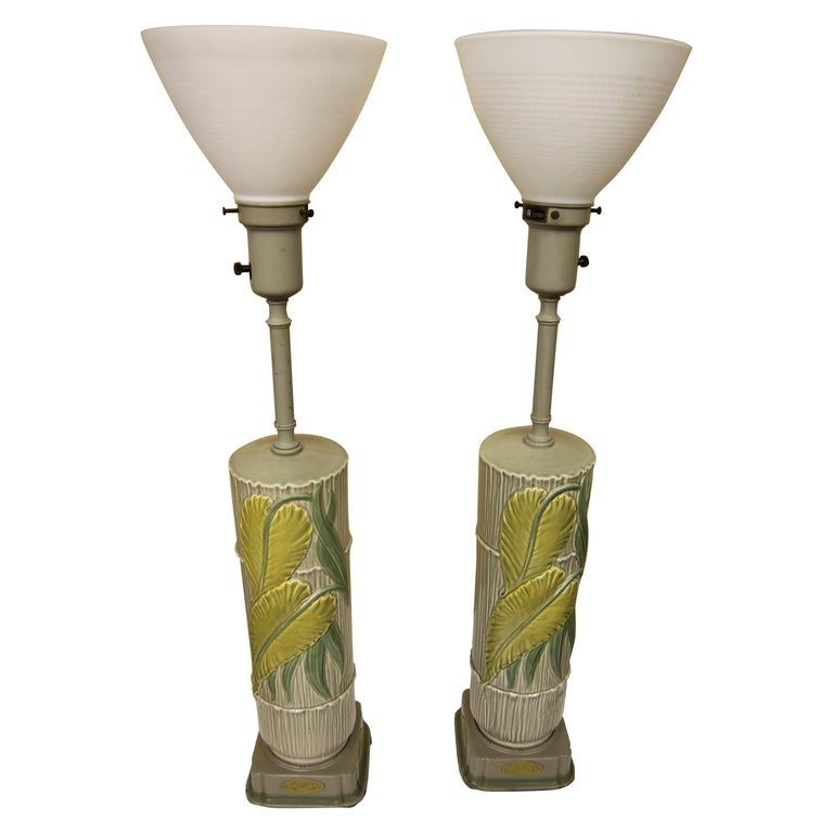 Pair of Ceramic Rembrandt Table Lamps For Sale