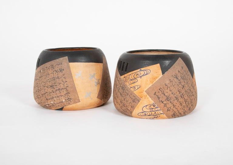 Folk Art Pair of Ceramic Round Shaped Japanese Hibachi's For Sale