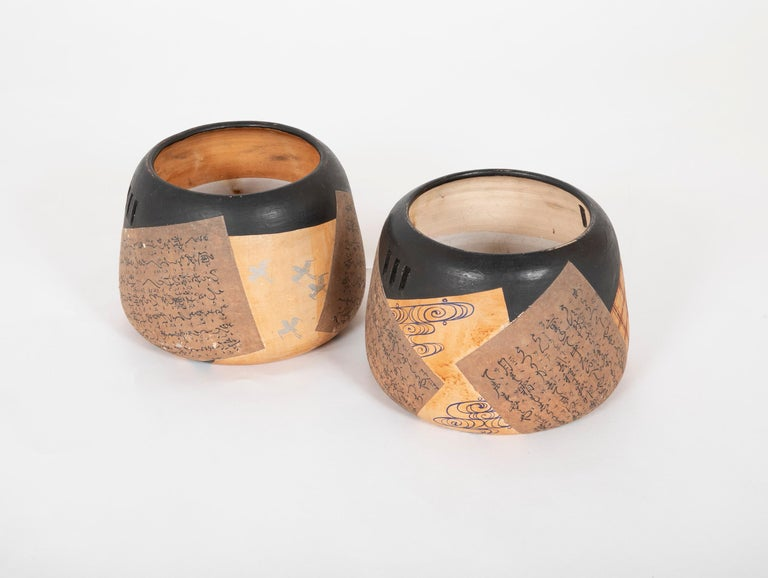 Pair of Ceramic Round Shaped Japanese Hibachi's In Good Condition For Sale In Stamford, CT