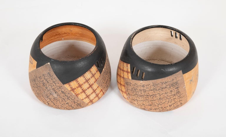 19th Century Pair of Ceramic Round Shaped Japanese Hibachi's For Sale