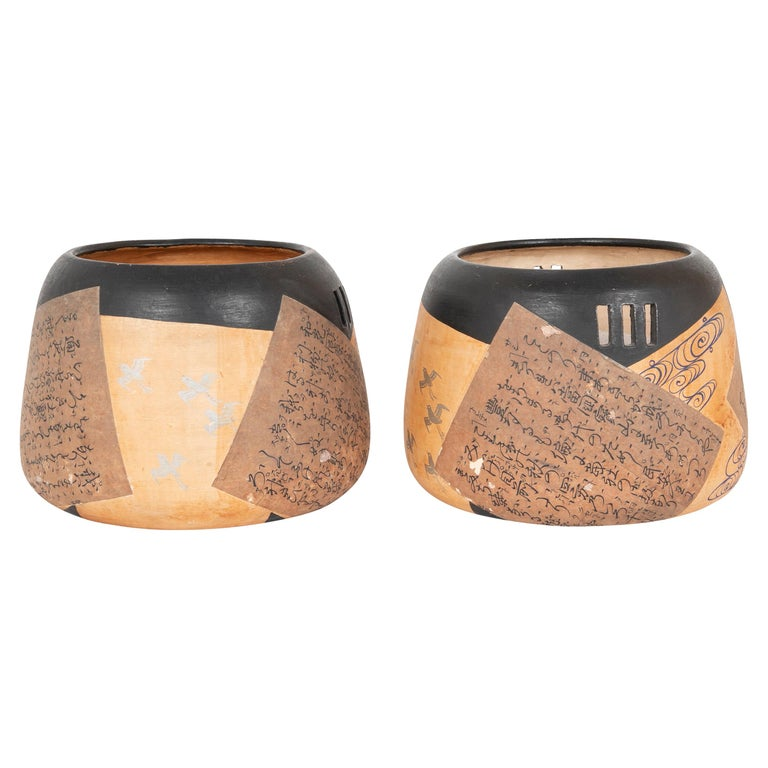 Pair of Ceramic Round Shaped Japanese Hibachi's For Sale