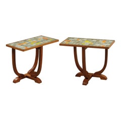 Pair of Ceramic Side Tables by Les 2 Potiers, France, 1960s