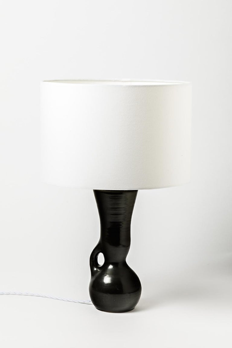 Ceramic Table Lamps Black and White Design 1950 Attributed to Pol Chambost, Pair For Sale 4