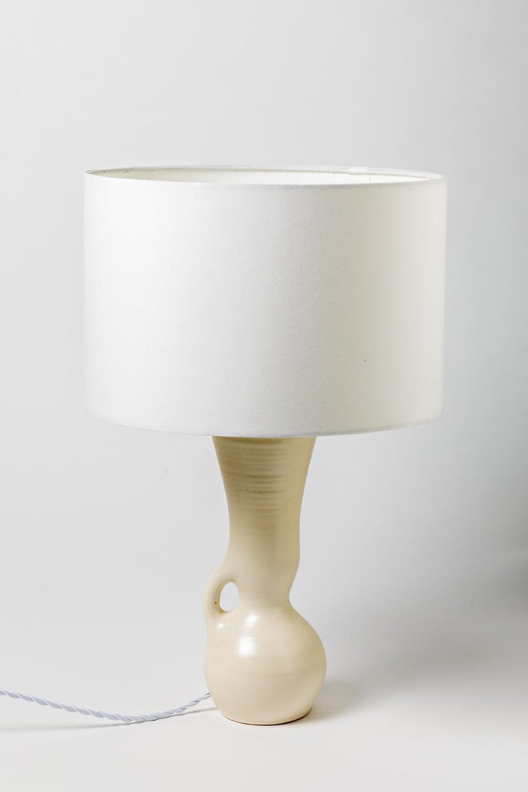 Ceramic Table Lamps Black and White Design 1950 Attributed to Pol Chambost, Pair For Sale 5