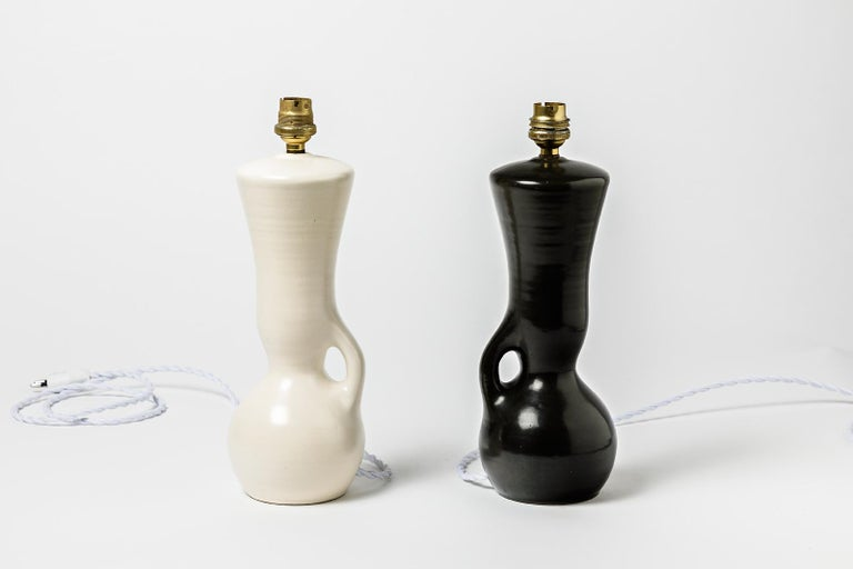 Mid-Century Modern Ceramic Table Lamps Black and White Design 1950 Attributed to Pol Chambost, Pair For Sale