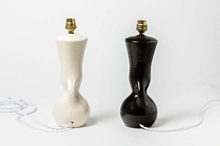 French Ceramic Table Lamps Black and White Design 1950 Attributed to Pol Chambost, Pair For Sale