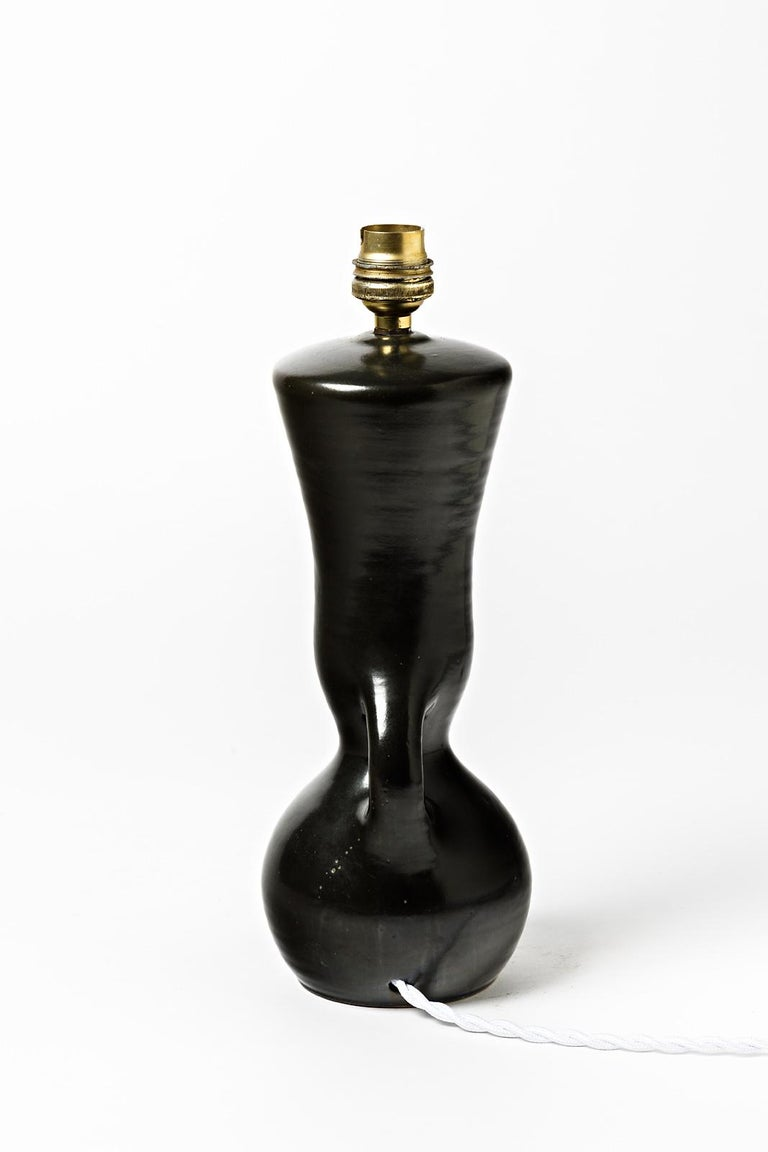 20th Century Ceramic Table Lamps Black and White Design 1950 Attributed to Pol Chambost, Pair For Sale