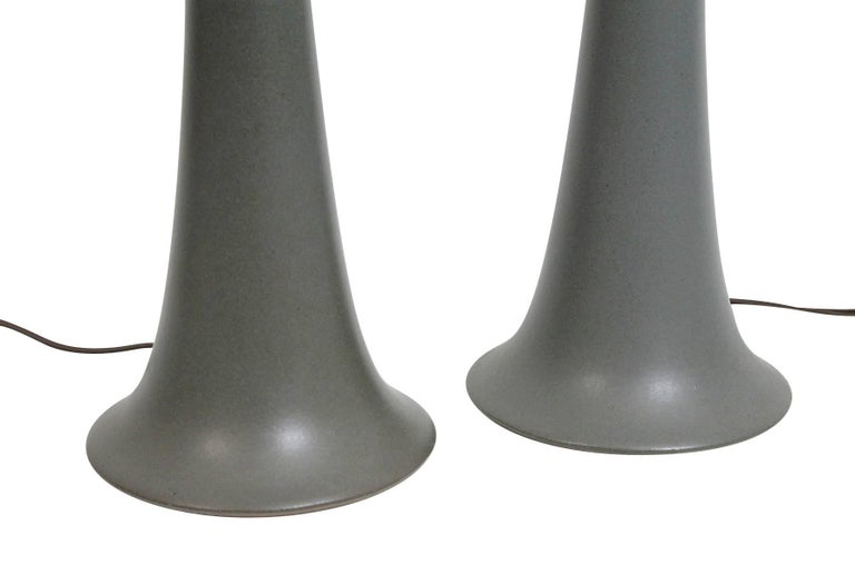 Brass Pair of Ceramic Table Lamps by Martz For Sale