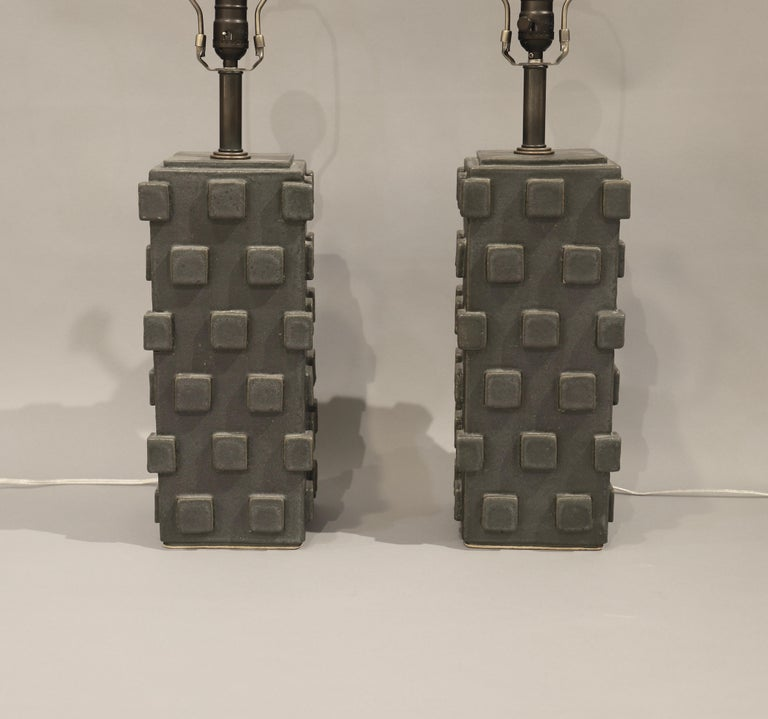 American Craftsman Pair of Ceramic Table Lamps by Matthew Ward, 2018