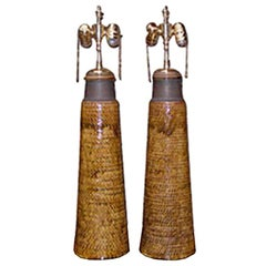 Pair of Ceramic Table Lamps in a Woven Motif