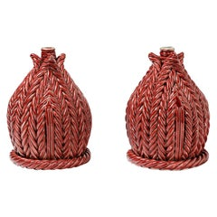 Pair of Ceramic Table Lamps, Signed under the Base, France, 1960-1970