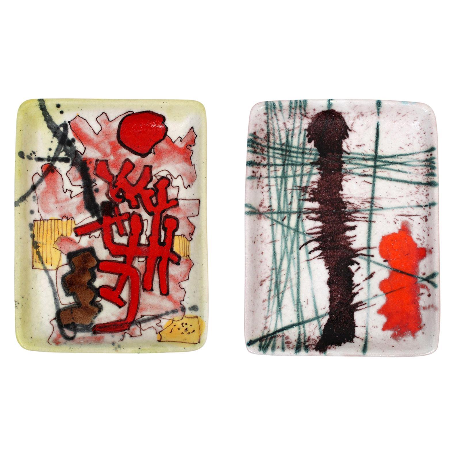 Pair of Ceramic Trays by Guido Gambone