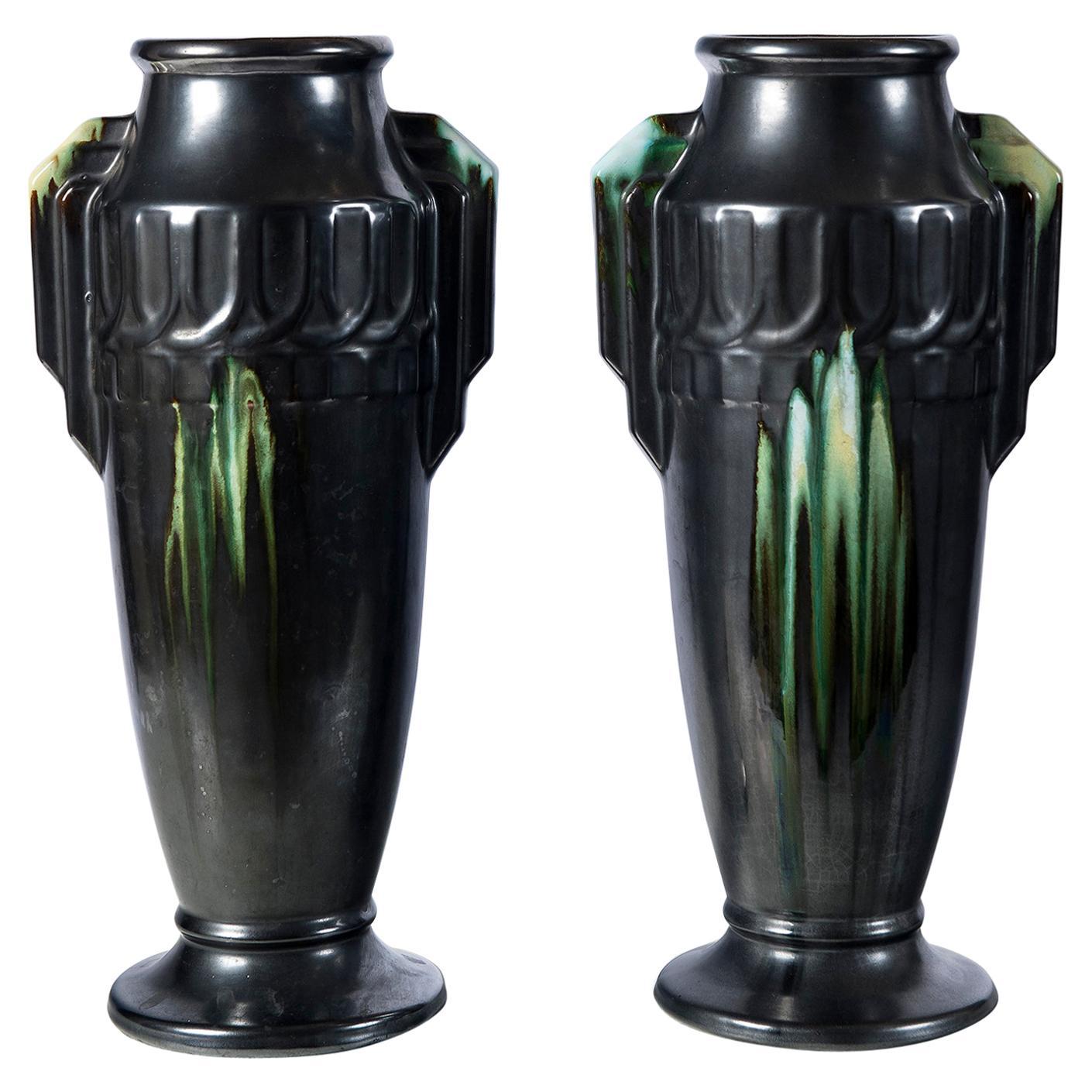 Pair of Ceramic Vases, Belgium, circa 1940