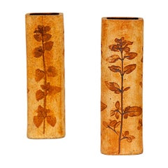 Pair of Ceramic Vases by Vallauris, France 1950, Brown, Roger Capron Style