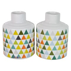 Pair of Ceramic Vases, Design by Gio Ponti for Pozzi, Ginori, Italy, 1960