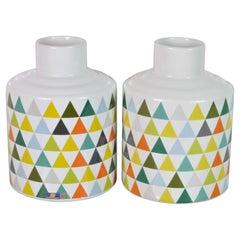 Pair of Ceramic Vases, Design by Gio Ponti for Pozzi, Ginori, Italy, 1960