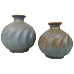 Pair of Ceramic Vases Turkos, Ewald Dahlskog for Bo Fajans, Sweden