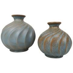 Pair of Ceramic Vases Turkos, Ewald Dahlskog for Bo Fajans, Sweden