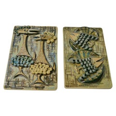 Pair of Ceramic Wall Plaques by Ulla Winblad, Sweden, 1960s