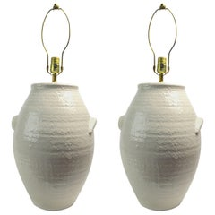 Pair of Ceramic White on White Jar Form Table Lamps