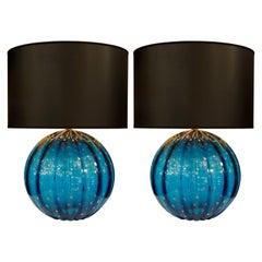 Pair of Cerulean Murano Glass Globe Lamps