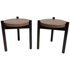 Pair of Cerused Oak and Cork Side Tables