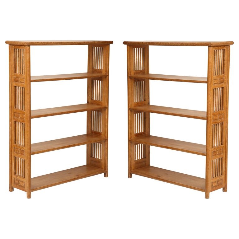 Pair of Cerused Oak Bookcases in the Vienna Secessionist Manner For Sale