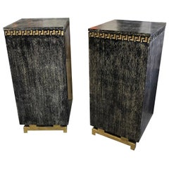 Pair of Cerused Oak Cabinets with Greek Key Frieze by James Mont