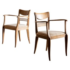 Pair of Cerused Oak Chairs in the Style of Émile-Jacques Ruhlmann, France