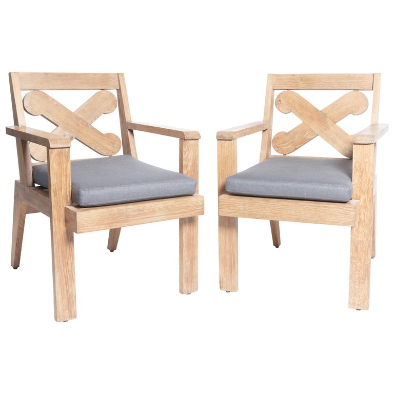 """Pair of Cerused Oak """"X"""" Armchairs For Sale"""