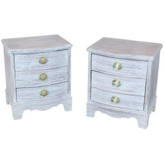 Pair of Chabby Chic White Painted Three Drawers Nightstands Lamp Tables