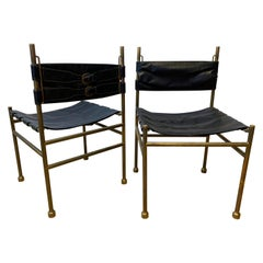 Pair of Chair Brass and Leather by Frigerio, Italy, 1970s