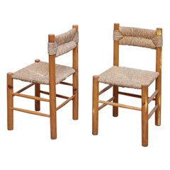 Pair of Chairs after Charlotte Perriand, Wood Rattan, Mid-Century Modern