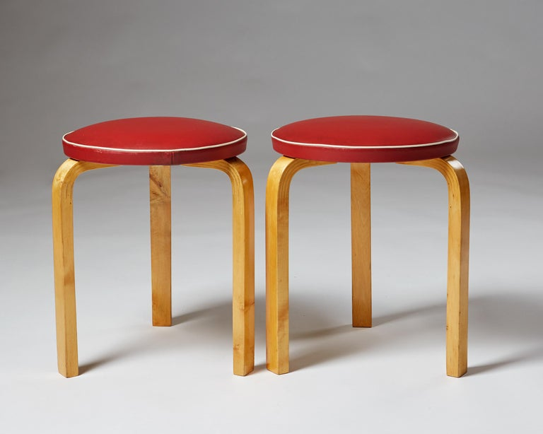 Faux Leather Pair of Chairs and Stools Designed by Alvar Aalto for Artek, Finland, 1950s For Sale