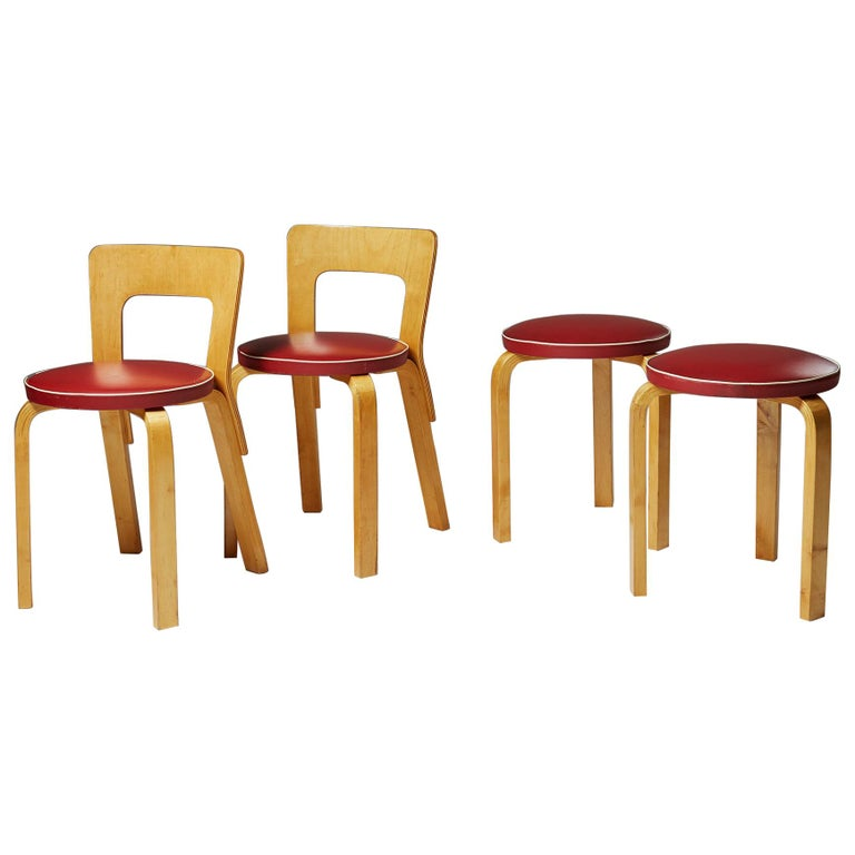 Pair of Chairs and Stools Designed by Alvar Aalto for Artek, Finland, 1950s For Sale