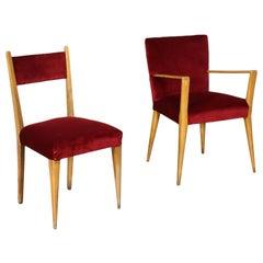 Pair of Chairs Beech Foam Velvet, Italy, 1950s