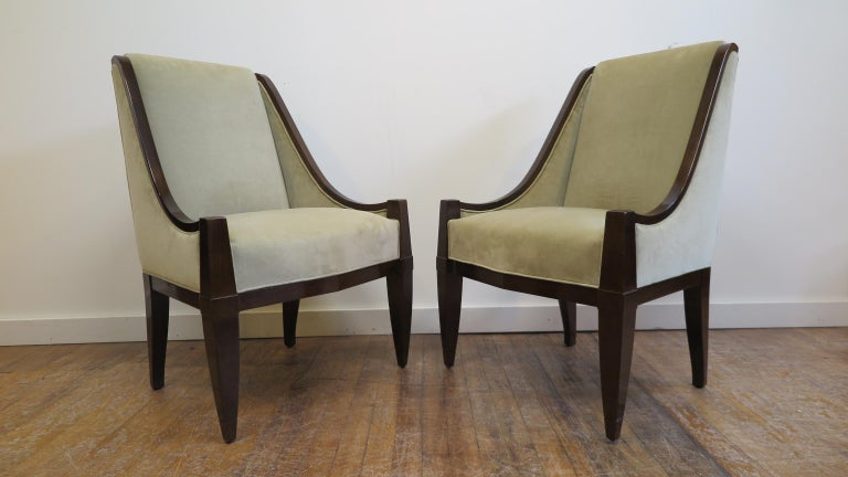 Pair of Bergeses chairs by André Sornay. Side chairs by André Sornay in very good condition, some small dings to the legs, upholstery is clean, we recommend new upholstery. Marked to the front right side of each chair with Sornay Brand. 1930, Lyons,