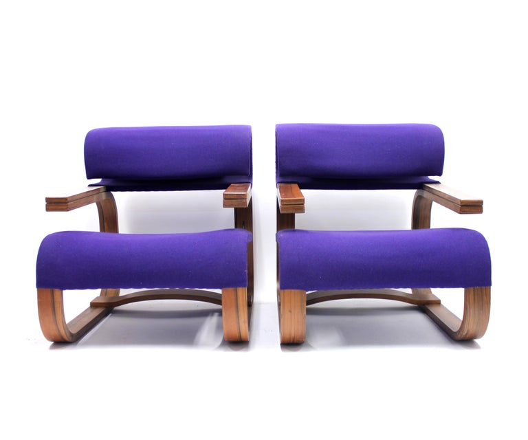 Brutalist Pair of Chairs by Jan Bočan for the Czechoslovakian Embassy, Stockholm, 1972 For Sale