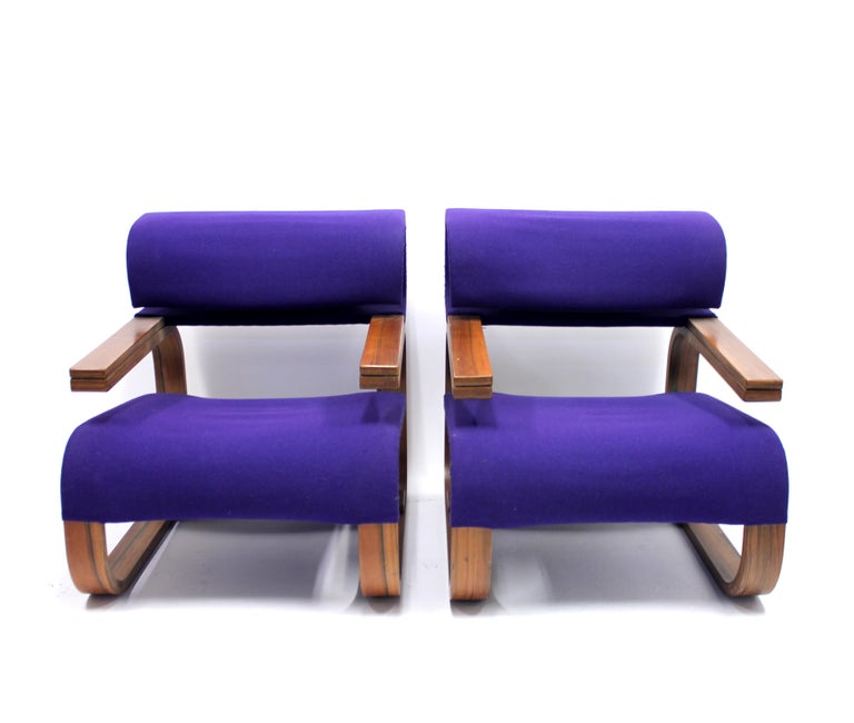 Fabric Pair of Chairs by Jan Bočan for the Czechoslovakian Embassy, Stockholm, 1972 For Sale