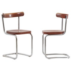 Pair of Chairs by Mart Stam for Mücke-Melder 'Under License from Thonet', 1930s