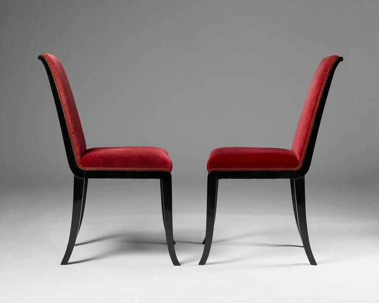 Velvet Pair of Chairs Designed by Alvar Andersson for Hyresgästernas Möbelaffär For Sale