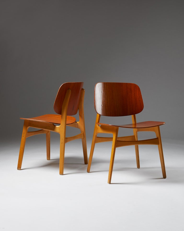 Mid-Century Modern Pair of Chairs Designed by Börge Mogensen, Denmark, 1960's For Sale