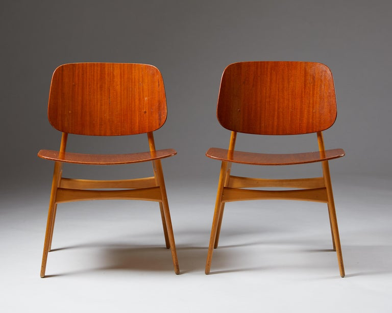 Pair of Chairs Designed by Börge Mogensen, Denmark, 1960's In Good Condition For Sale In Stockholm, SE