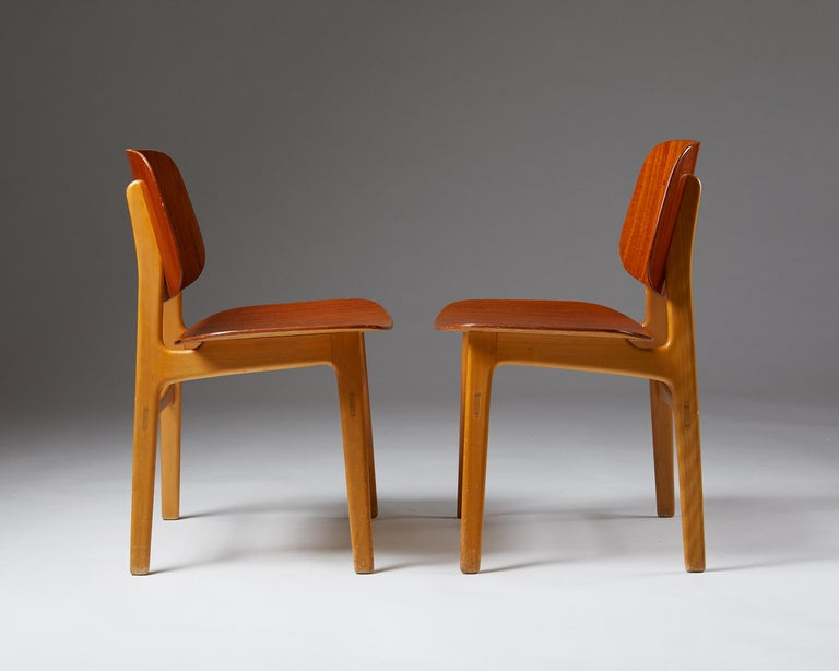 Mid-20th Century Pair of Chairs Designed by Börge Mogensen, Denmark, 1960's For Sale