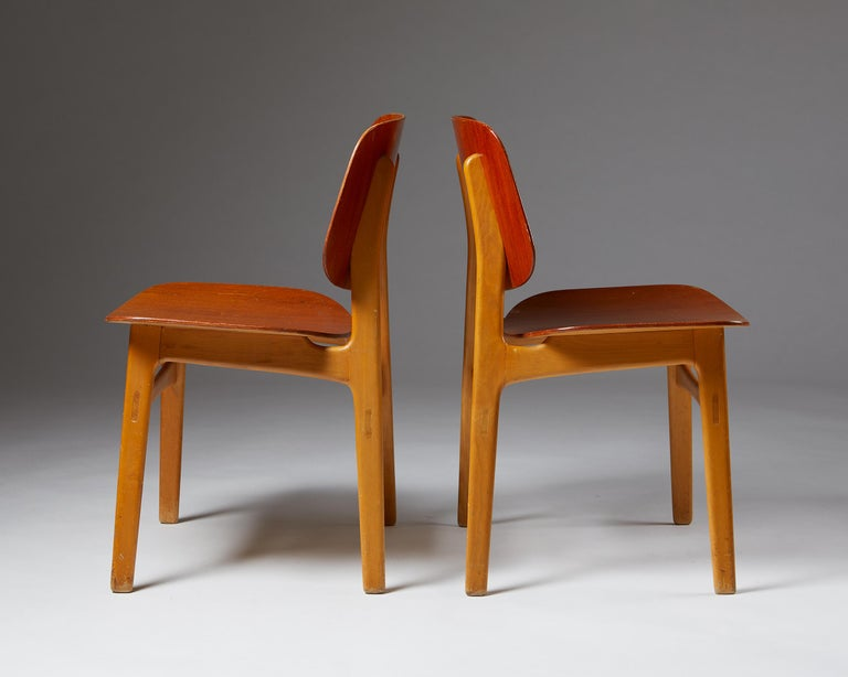 Beech Pair of Chairs Designed by Börge Mogensen, Denmark, 1960's For Sale