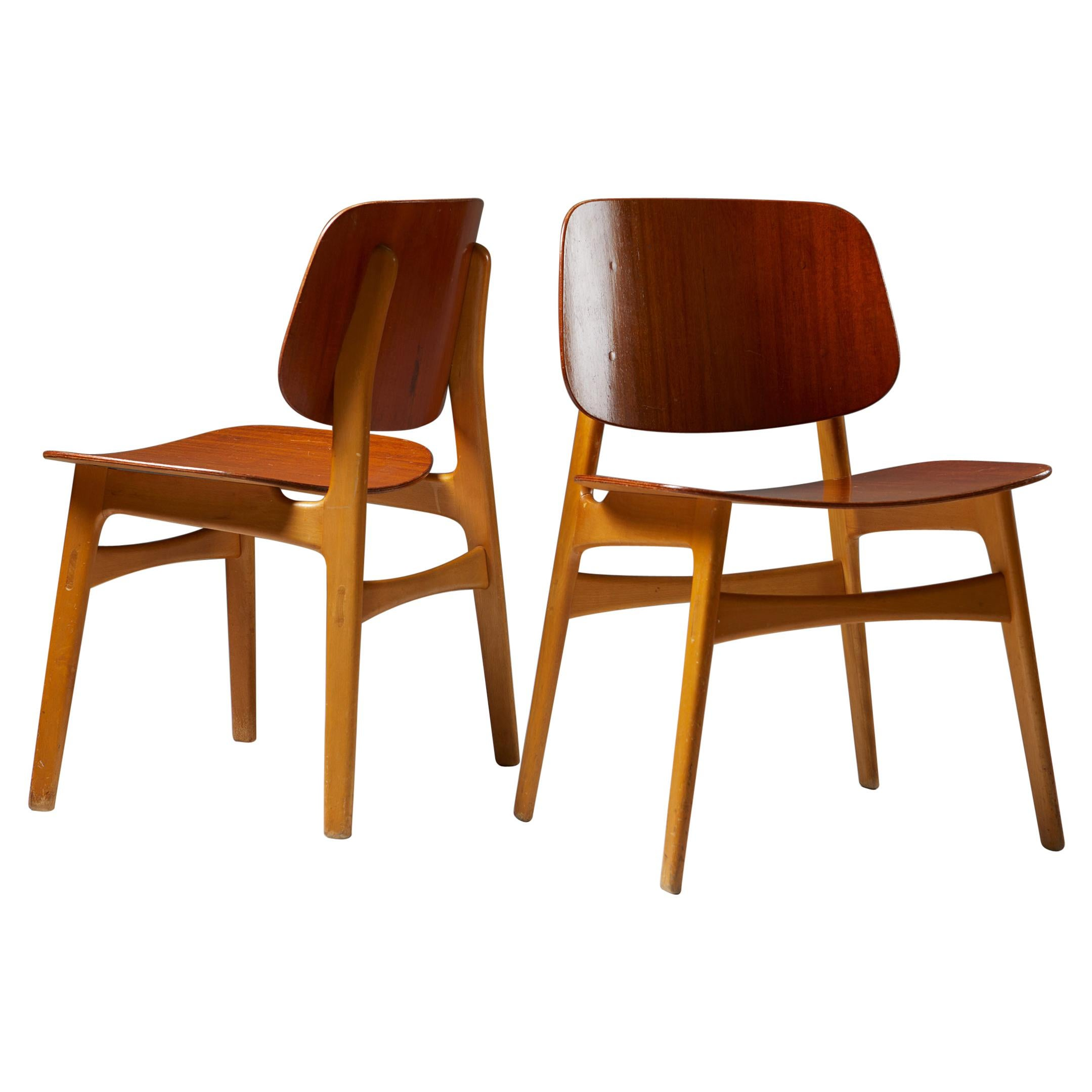 Pair of Chairs Designed by Börge Mogensen, Denmark, 1960's