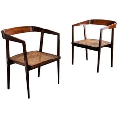 Pair of Chairs in Rosewood with Caned Seat by Joaquim Tenreiro, 1960s