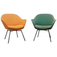 Pair Of Chairs Italian Mid-Century Modern Iron Colored Fabric