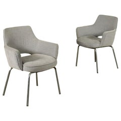 Pair of Chairs Metal Foam Fabric, Italy, 1960s