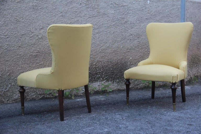 Pair of Chairs Mid-Century Modern Italian Design Yellow Color Wood Brass Feet For Sale 6
